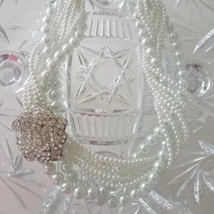 White Multi Strand Glass Pearl Necklace